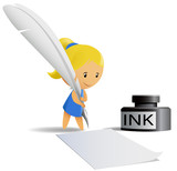 Cartoon chibi girl write by feather pen