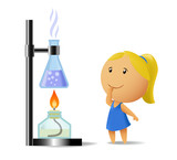 Schoolgirl watching on chemistry test poster