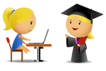 Set of two schoolgirls with computer and diploma