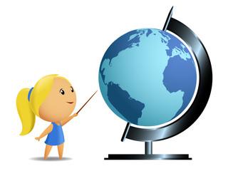 Schoolgirl student point globe