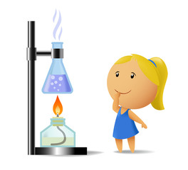 Schoolgirl watching on chemistry test