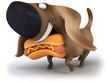 Chien et hotdog