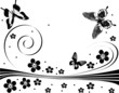 black flower and butterfly design