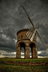 Chesterton Windmill with dark stormy sky