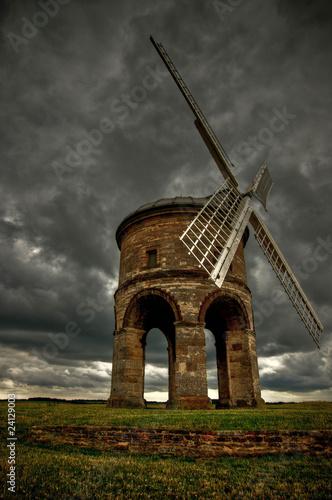 Chesterton Windmill with dark stormy sky