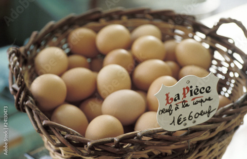 basket of eggs at the market
