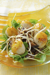 scallops glazed with clementines,caramelized  shiitakes