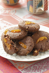 chocolate,walnut ,ginger and confit orange cookies