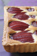 pears poached in red wine tart