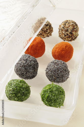 four flavored goat's cheese balls