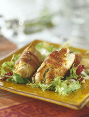 turkey breasts with pistou rolled in bacon