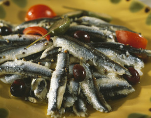 anchovies with black olives and capers