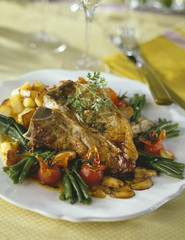 grilled mutton chops with vegetables