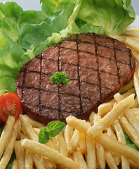 hamburger steak with chips