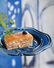 smoked salmon and fromege frais mille-feuille