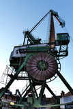 Dockside crane in Inner Habour of Karlsruhe, Germany
