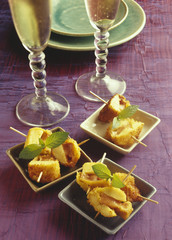 small brochettes of quenelle and foie gras fritters