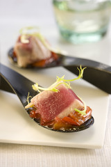 tuna and caramelized tomato skewer