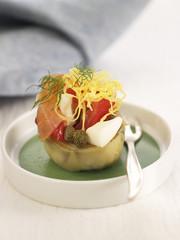 artichoke,salmon,tomato and caper skewer