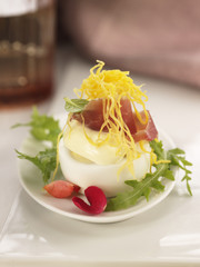 serrano ham,hard boiled egg and mayonnaise skewer