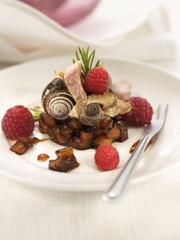 pork fillet with snails and fruit