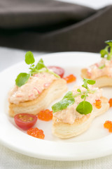 crab and watercress finger-shaped tartlets