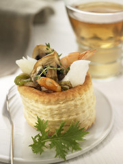shrimp,cod and mushroom tartlet