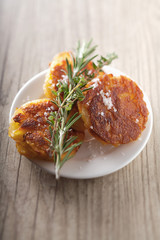 potato cakes with fleur de sel sea salt and rosemary