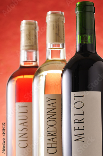 bottles of wine with labels