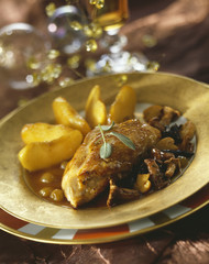 guinea-fowl breast with mushroom sauce,caramelized apples and mixed mushrooms