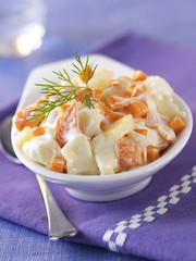 salmon and scallop salad with cream sauce