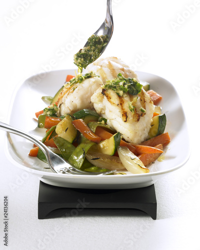 grilled monkfish with pan-fried vegetables