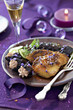 pan-fried foie gras with prunes stewed in pineau and spices