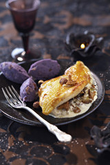 poulard hen's breast with creamy mushrooms and mashed purple potato quenelles