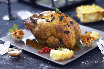 roast guinea-fowl capon with périgueux sauce