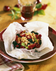 summer fruit crumble cooked in wax paper