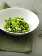 green tabbouleh with argan oil