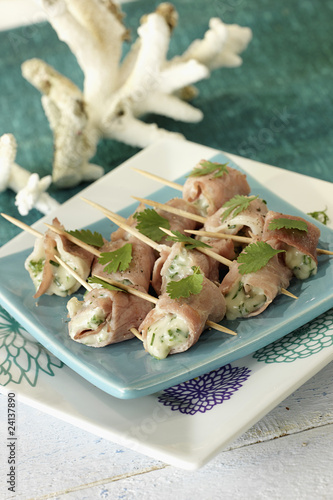 gorgonzola and bacon rolls
