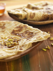 moroccan pancakes with pistachios and honey