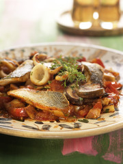 ratatouille with bass and squid