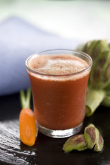 artichoke,beetroot,celery and carrot smoothie