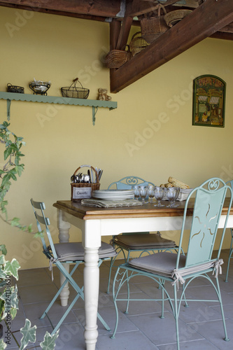 table under the canopy