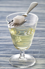 glass of absinthe,spoon and sugar lump