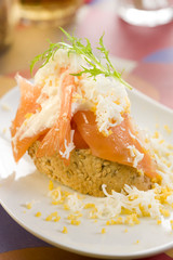 big prawn and salmon open sandwich