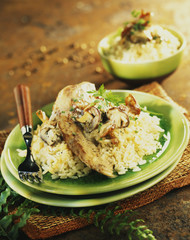 sliced turkey breast with mushroom risotto