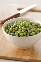 bowl of raw peas