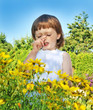 sneezing little girl - pollen fever allergy
