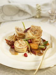 roast rabbit with spring vegetables