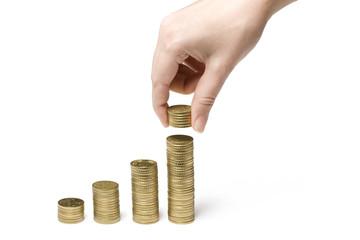 Hand mit Euro Münzen