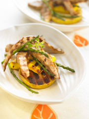pork with mango and wild asparagus